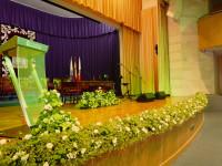 Vista de seto decorativo sobre escenario