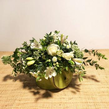 Cazuelita verde de flores